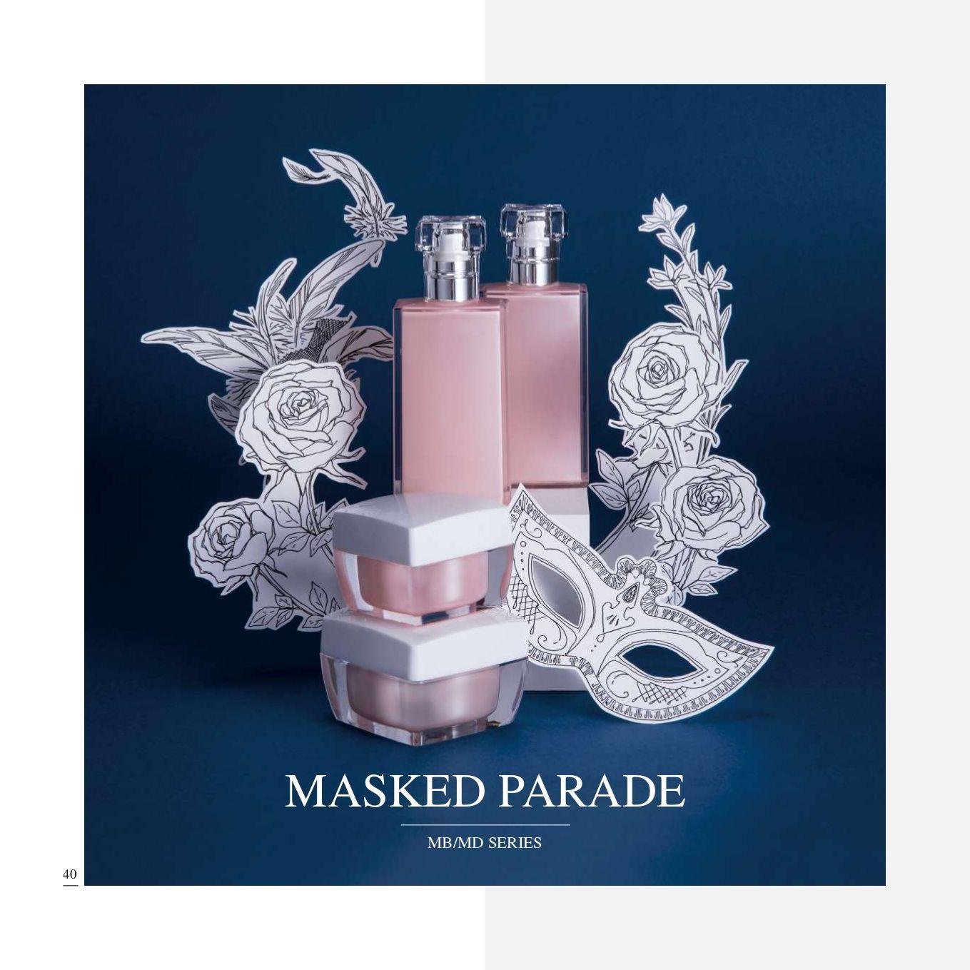 cuadrado Acrílico cosmético y cuidado de la piel Envase - Serie Desfile de Máscaras - Cosmético Envase Colección - Desfile de Máscaras