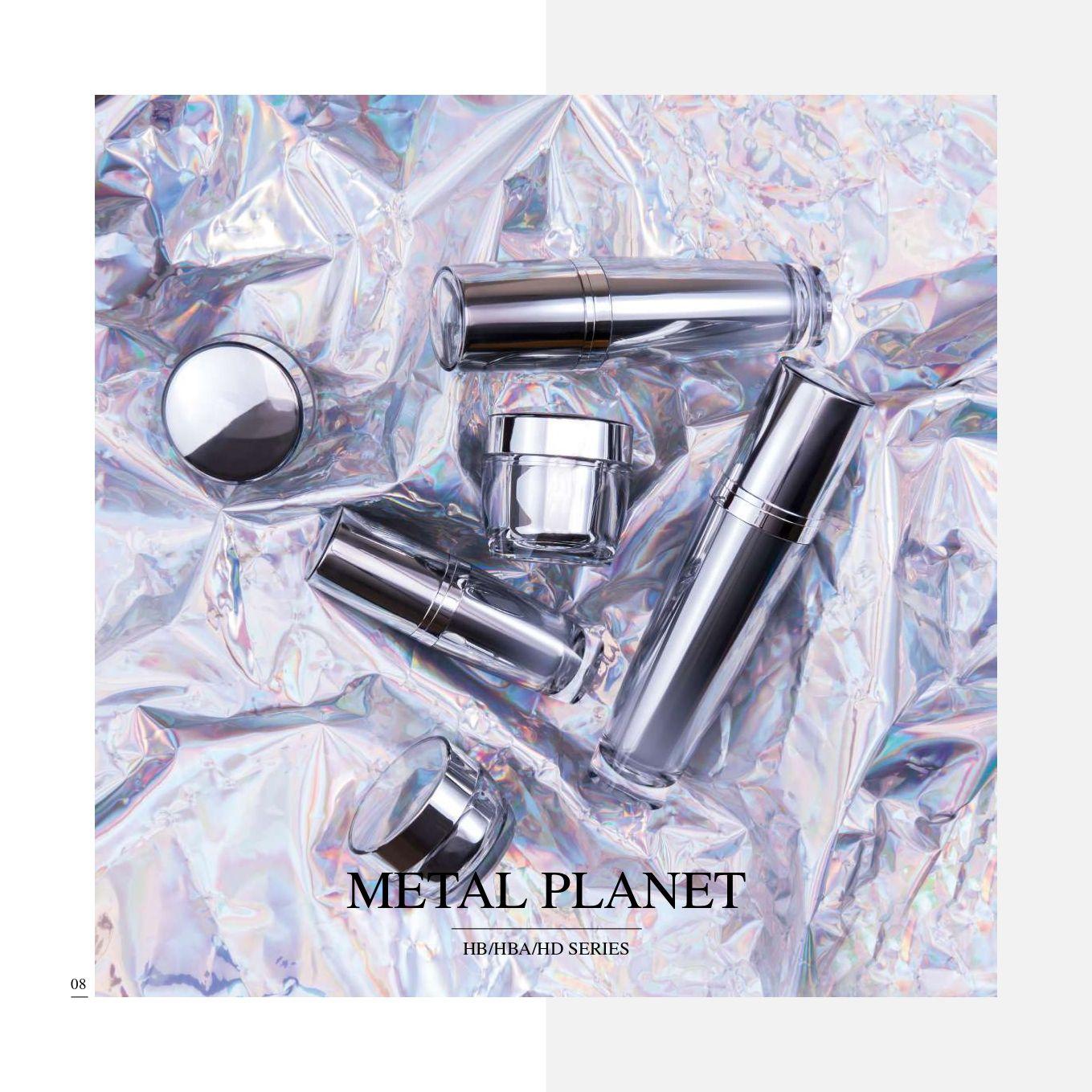 redondo Forma Acrílico Lujo Cosmético y Cuidado de la Piel Envase - Serie Metal Planet - Cosmético Envase Colección - Metal Planet