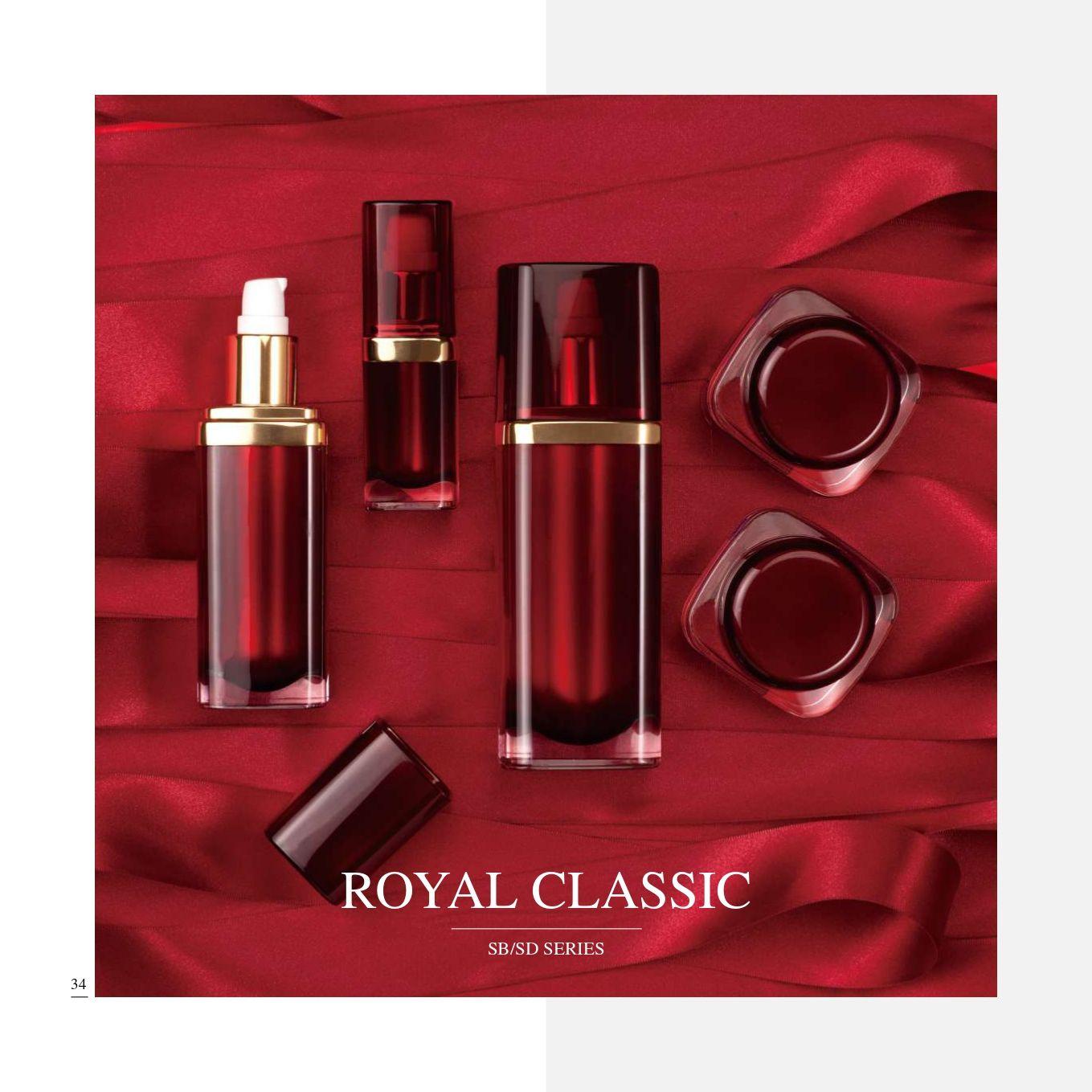 cuadrado Forma Acrílico Lujo Cosmético y Cuidado de la Piel Envase - Serie Royal Classic - Cosmético Envase Colección - Royal Classics