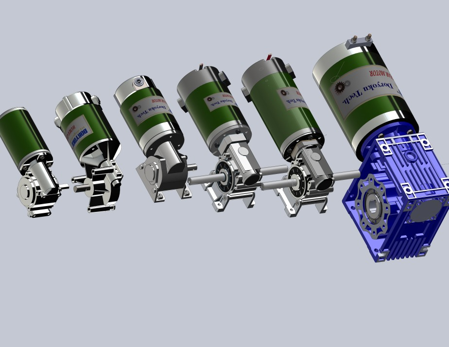 DC Right Angle Worm reducers for heavy load design.