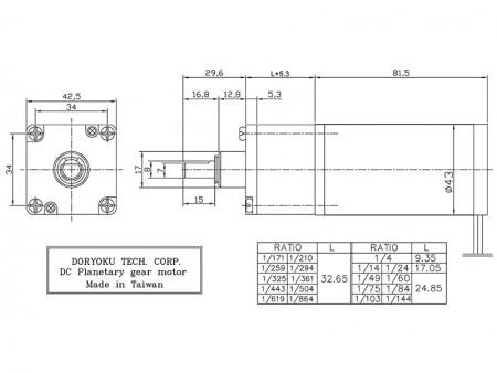 Planetary gear motor_P43 DIA43