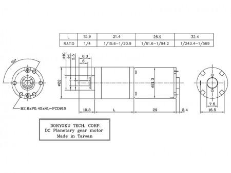 Silnik szczotkowy DC z redukcją biegów Dia.  22mm