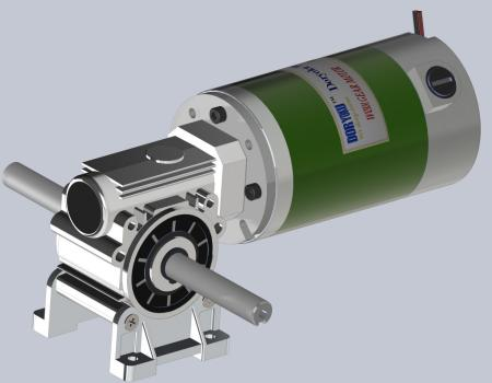 Silnik z przekładnią ślimakową o mocy 160 W na prąd stały - Silnik z przekładnią ślimakową DC WG80S.NMRV 030 56B14 zainstalowany w narzędziu ogrodniczym, kosiarce. NMRV 040 lub 63B14 jest opcją.