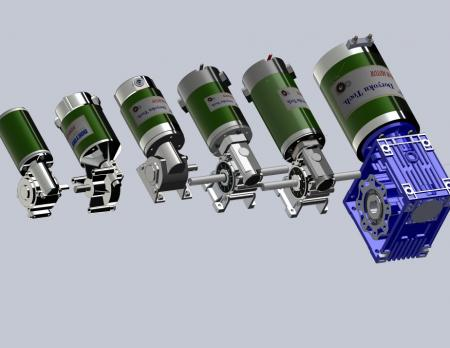 Worm Gear Motors - DC Right Angle Worm reducers for heavy load design.