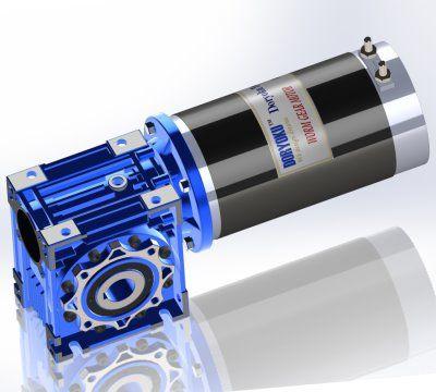 600W DIA110 Lungo Vr. - Motoriduttore a vite senza fine DC WG110L. Design a 4 poli, alta potenza e lunga durata.