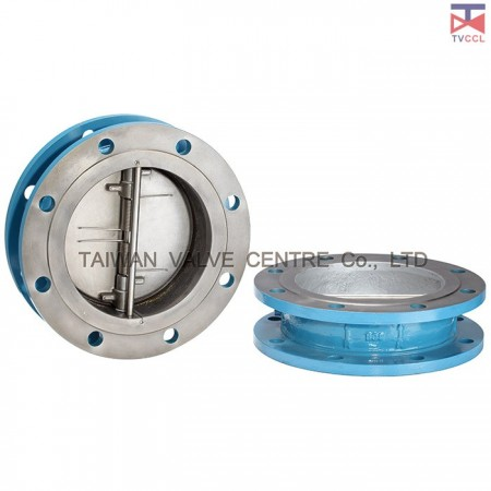 Cast Steel Dual Plate Flange Type Check Valve With Retainerless - Flange Design Retainerless check valve clamped between flanges with bolting around outside of valve.