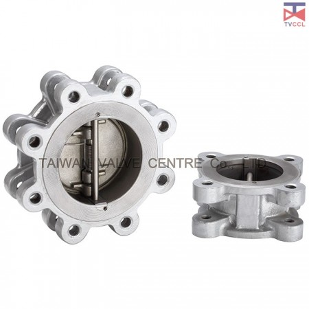 304 Stainless Steel Dual Plate Lug Type Check Valve With Retainerless - Lug Design. Retainerless check valve clamped between flanges with bolting around outside of valve. It is No screwed body Retainer (plugs).