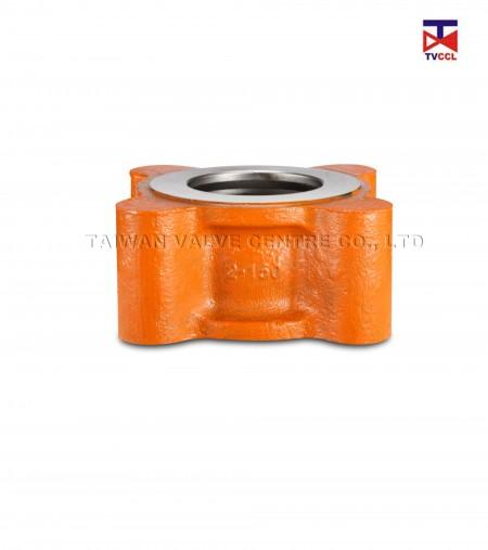 Van kiểm tra loại ống kép bằng thép đúc - Van một chiều Full Lug hai tấm bằng cách chạm và cho phép vấu một phía của đường ống.