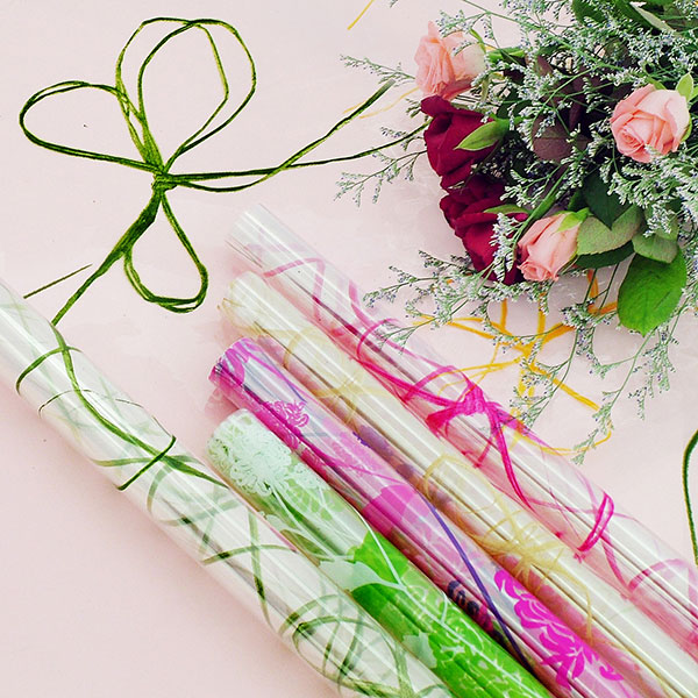 Lengan Bunga Bopp dengan desain yang dicetak untuk rangkaian Karangan Bunga Segar