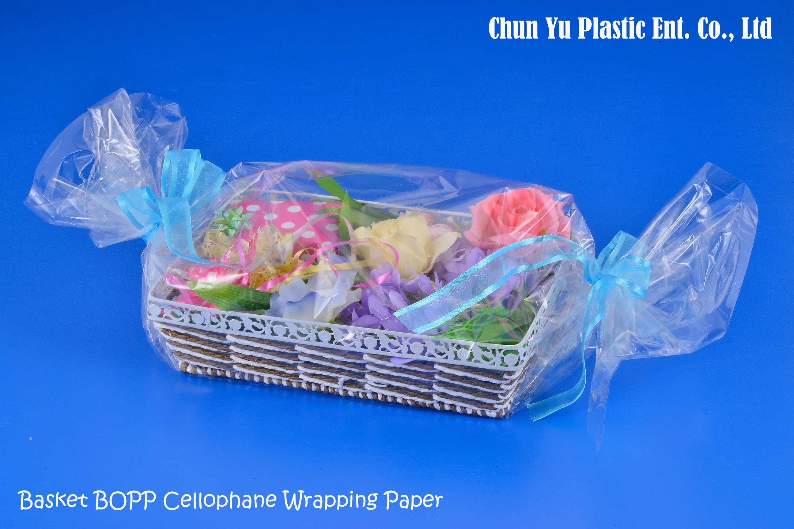 Clear cellophane wrapping paper for gift basket arrangement