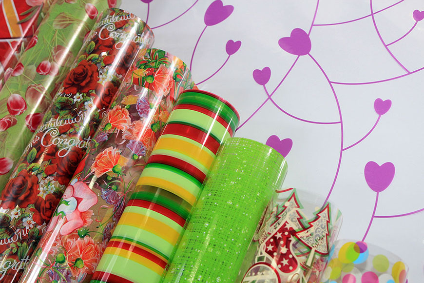 Cellophane BOPP Film wrap with design pattern printed in roll and sheet for gift wrapping and flower packing