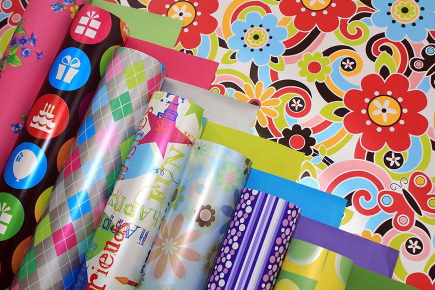 Printed Pearlised Gift Wrapping Paper in Roll & Sheet