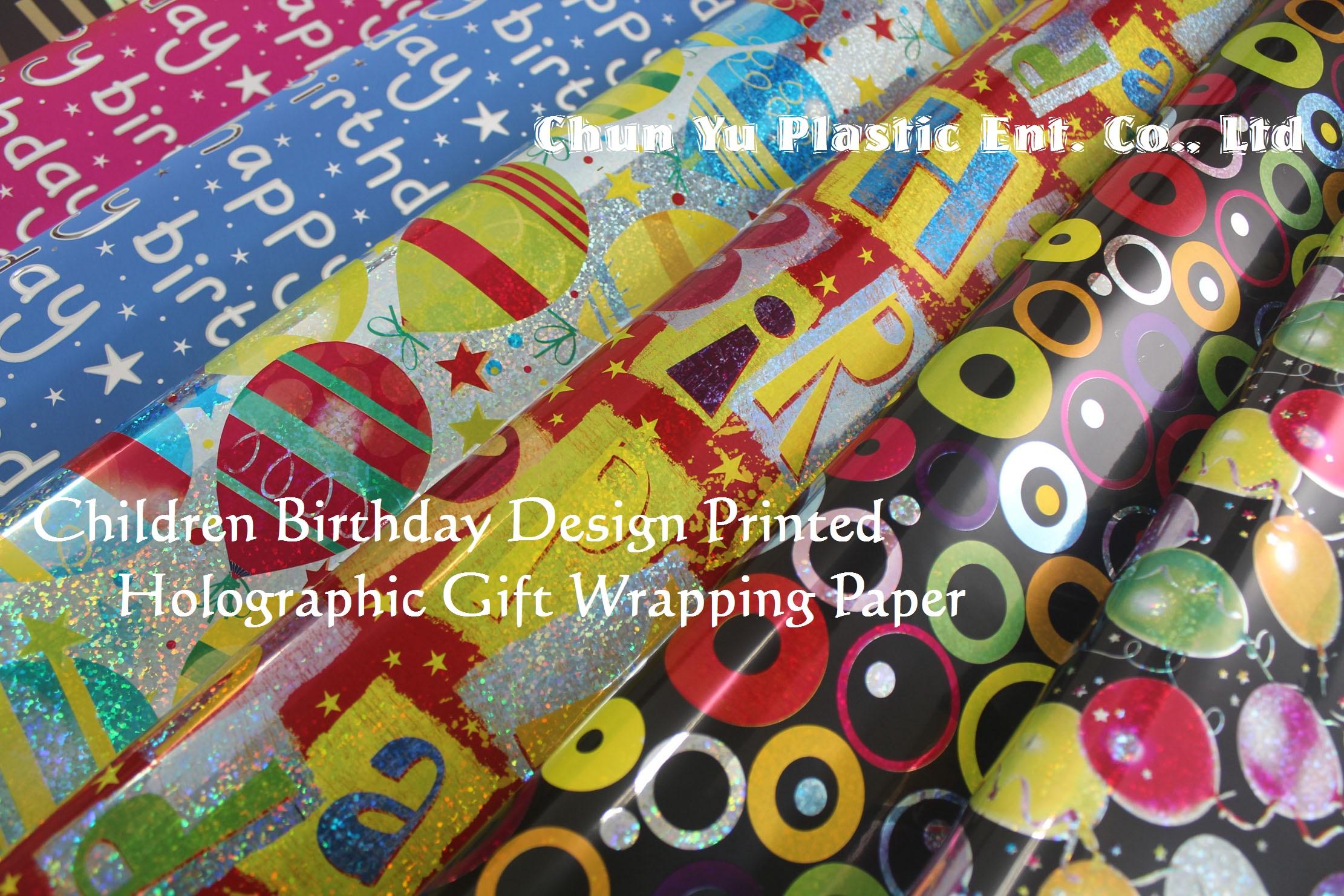 Holografisches Geschenkpapier bedruckt mit Kindermotiven für Geburtstage und Feiern. Unser holografisches Geschenkpapier zum Geburtstag enthält Designs für Mädchen und Jungen.