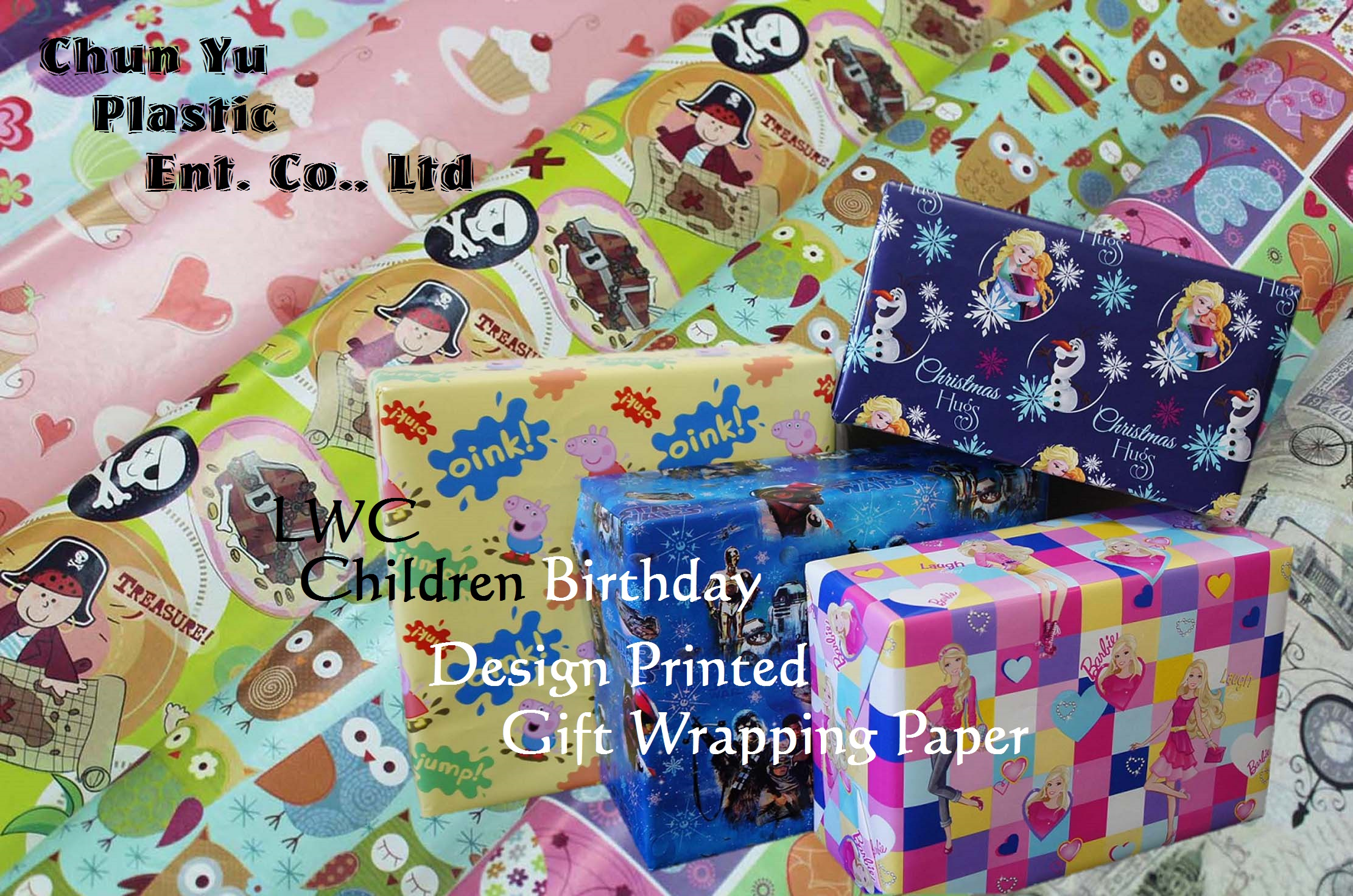 LWC gift wrapping paper printed with girls and boys designs for children birthday celebrations