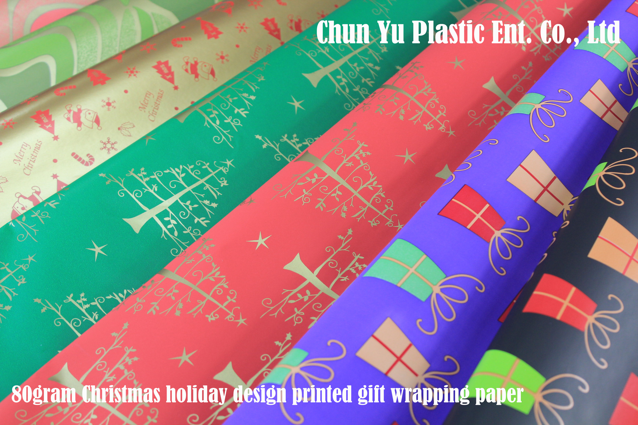 Gift wrapping paper printed with Christmas design for your gifts in holiday season