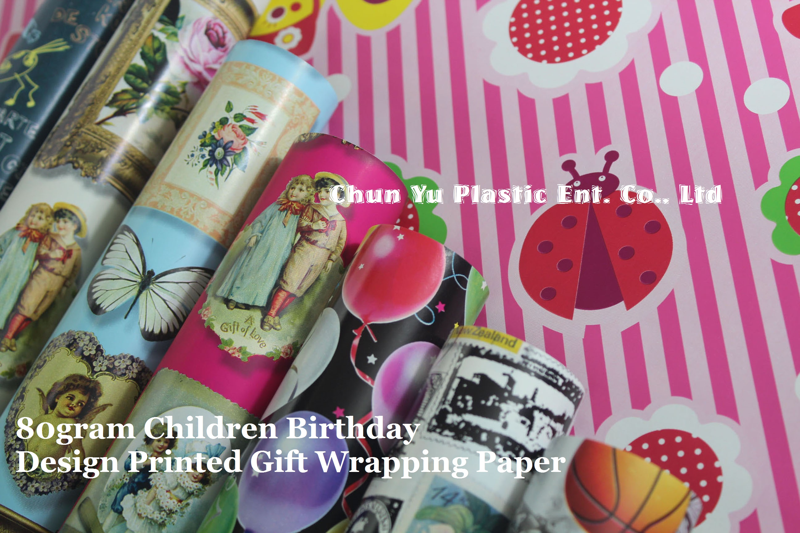 80gram luxury gift wrapping paper printed with baby girls and boys designs for children birthday celebrations