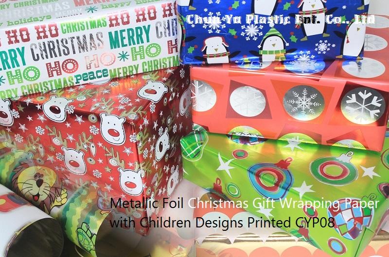 Wysoko biały, odporny na wgląd papier do pakowania prezentów z nadrukami świątecznymi na okres świąteczny.