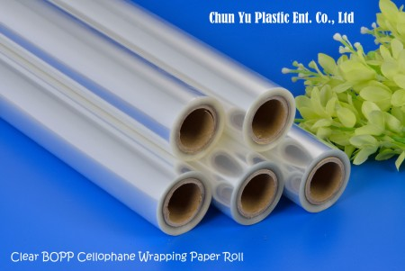 Clear BOPP Cellophane Wrapping Paper Roll - Cut flower bouquet wrapped with clear cellophane wrapping paper sheet