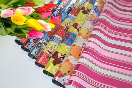 BOPP Metalik Dengan Design Printed Flower Wrapping & Gift Wrapping - Bungkus BOPP Metalic Cellophane Cetak dalam Roll & Sheet
