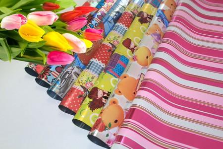 BOPP metálico com design de embrulho de flores e embrulho de presente - Envoltório BOPP de celofane metálico impresso em rolo e folha