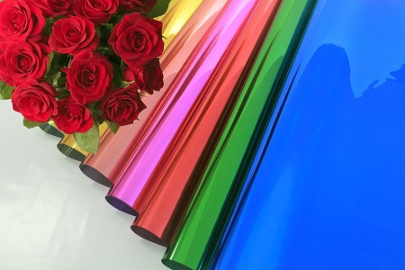 Metallic BOPP With Shiny Color Printed Flower Wrapping & Gift Wrapping - Color Printed Metallic Cellophane Film Wrap in Roll & Sheet