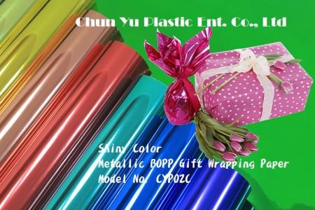 BOPP metallizzato con carta da regalo stampata a colori lucidi - Pellicola di cellophane metallizzata stampata a colori in rotolo e foglio