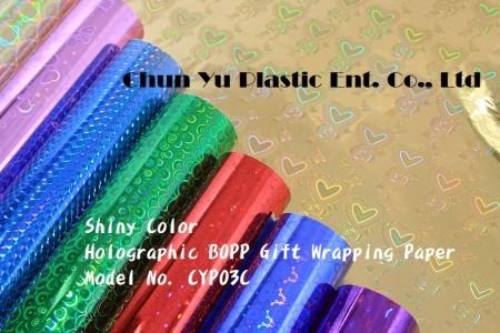 カラープリントギフト包装紙付きホログラフィックBOPP - ロール&シートのカラー印刷ホログラフィックギフト包装紙