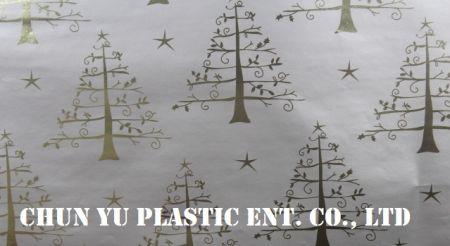 Модель № CYP08-EM063 Рождественские елки 60 грамм металлическая подарочная упаковочная бумага - 60 грамм металлизированной бумаги с рисунком рождественских елок для выбранной упаковки рождественских подарков