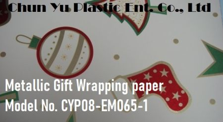 Model No. CYP08-EM065 Christmas Icons 60gram metallic gift wrapping paper - 60gram metallized paper printed with Christmas icons pattern for holiday gifts wrapping