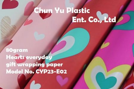 Model No. CYP23-E02: Kertas Pembungkus Kado Sehari-hari 80gram - Kertas pembungkus kado 80gram dicetak dengan desain Hati untuk kemasan kado
