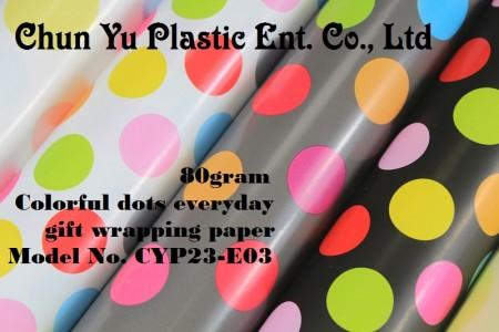 Model No. CYP23-E03: Kertas Pembungkus Kado Sehari-hari 80gram Titik Berwarna-warni - Kertas pembungkus kado 80gram dicetak dengan desain titik-titik berwarna-warni untuk kemasan kado