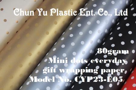 Model No. CYP23-E05: 80gram Mini dots Kertas Pembungkus Kado Sehari-hari - Kertas pembungkus kado 80gram dicetak dengan desain titik-titik Mini untuk kemasan kado