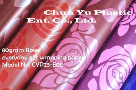 Model No. CYP23-E08: 80gram Roses Everyday Gift Wrapping Paper - Kertas pembungkus kado 80gram dicetak dengan desain Mawar untuk persiapan kado