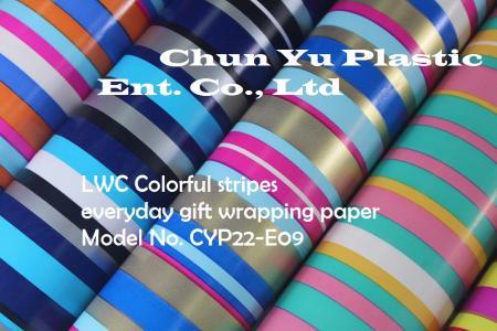 Model No. CYP23-E09: 80gram Kertas Pembungkus Kado Sehari-hari Garis Berwarna-warni - Kertas pembungkus kado 80gram dicetak dengan desain Garis-garis Berwarna-warni untuk persiapan kado