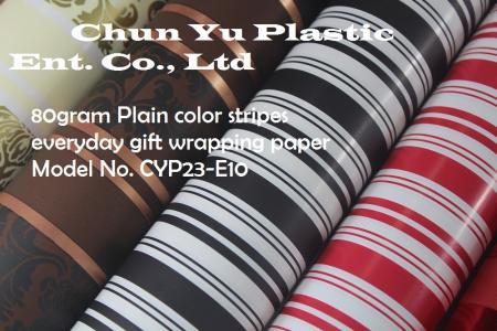 Model No. CYP23-E10: 80gram Plain Color Stripes Everyday Gift Wrapping Paper - 80gram gift wrapping paper printed with Plain Color Stripes designs for gift preparing