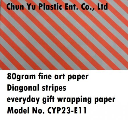 Model No. CYP23-E11: 80gram Diagonal Stripes Everyday Gift Wrapping Paper - Kertas pembungkus kado 80gram dicetak dengan desain garis-garis diagonal untuk persiapan kado