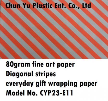 Modell Nr. CYP23-E11: 80 Gramm Diagonalstreifen Geschenkpapier für den Alltag - 80 Gramm Geschenkpapier bedruckt mit diagonalen Streifendesigns für die Geschenkvorbereitung