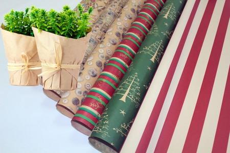 Papel Kraft Marrom Com Impressão De Embrulho De Flores E Papel De Presente - Embrulho de flores artesanais marrons em rolos e folhas