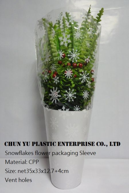 Model No.: Snowflakes CPP Flower Packaging Sleeve 14 - White Snowflakes CPP Flower Sleeves is used to pack foliage plant