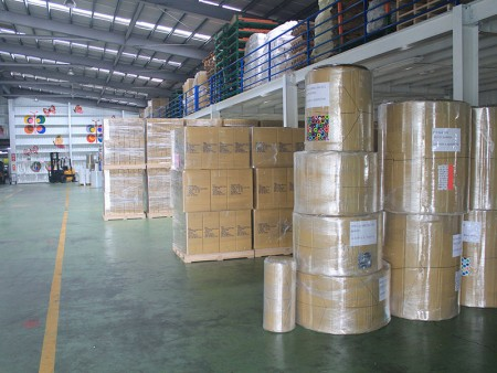 Ready to ship production of gift wrapping paper in jumbo roll.