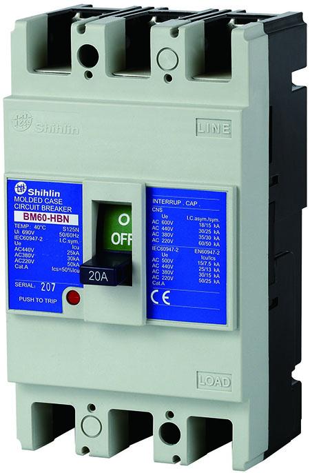 Shihlin Electric Disjuntor em caixa moldada BM60-HBN
