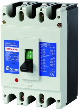 Disjuntor em caixa moldada - Shihlin Electric Disjuntor em caixa moldada BM160-HC