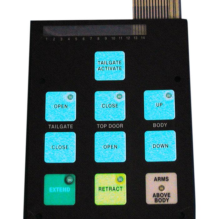 لوحة تجميع الغشاء - مفاتيح غشاء الإضاءة الخلفية EL.