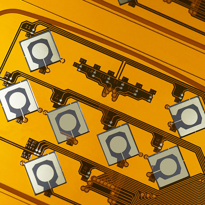 Double-side Flexible Printed Circuit (F.P.C.) - Gold plated double side FPC.