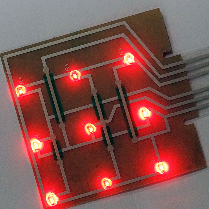 Membrane Switch assembled Red LED - LED circuit layers
