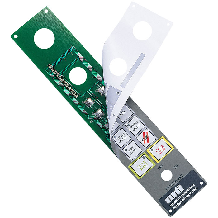 PCB assembled membrane switch - PCB assembled metal domes and graphic overlay