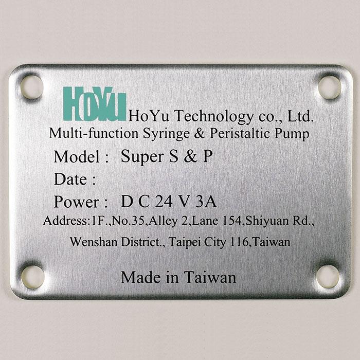 Custom Nameplate - Aluminum plate with printing description.