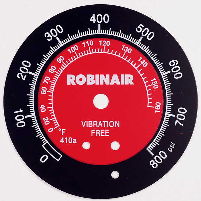 Dispositivo de inspección Placa de aluminio - Placa de identificación con impresión de números en la parte superior y tiene 3 colores.
