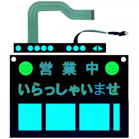 Panneau d'affichage      Électroluminescence - Clavier à membrane avec      Électroluminescence