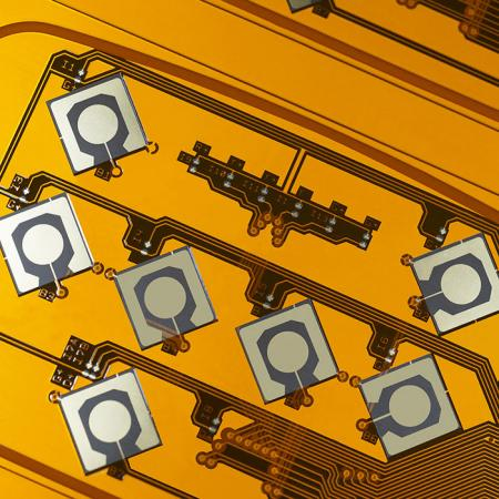 Double-sided Flexible Printed Circuit (F.P.C.) - Gold plated double side FPC.